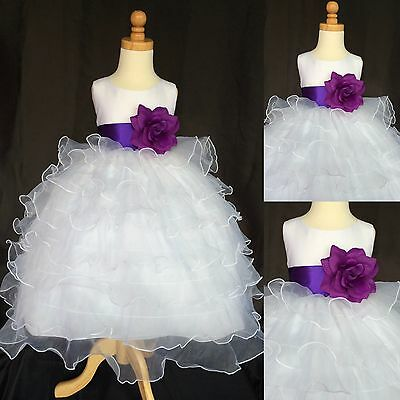 White Organza Ruffle Dress Purple Flower Girl Bridesmaid Recital Pageant #014 (Purple And White Flower Girl Dresses)