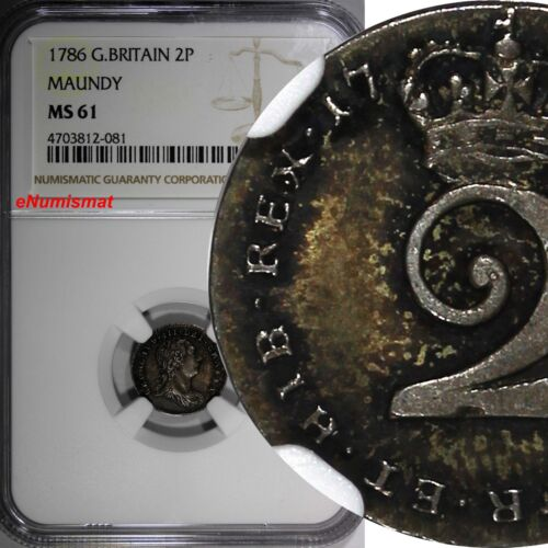 Great Britain George III 1786 2 Pence Maundy NGC MS61 1 GRADED HIGHER KM# 595