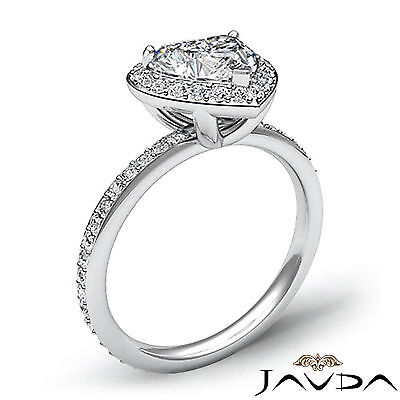 2 ct Halo Pave Heart Diamond Engagement Brilliant Ring 14K White Gold F SI1 GIA 2