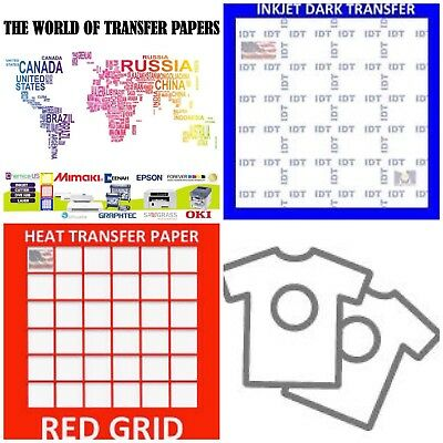 Inkjet T Shirt Heat Transfer Paper Combo 25 Sh Each Idt Red Grid A4