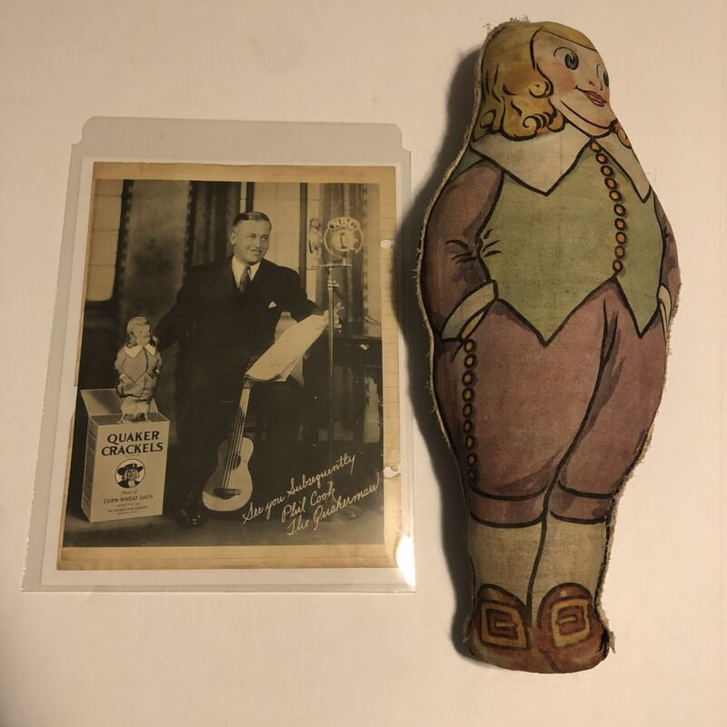 1930 Quaker Oats Cloth Mascot Premium Doll Stuffed With Straw And Photo