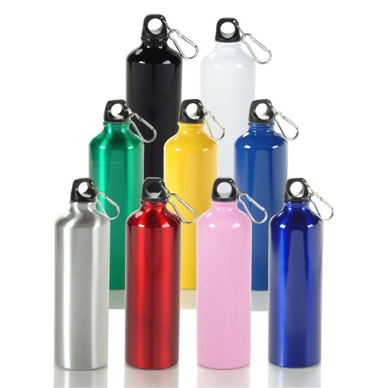 [ 12 Piece Bulk Package ] 20 oz Aluminum Water Bottle w/ Carabiner Clip