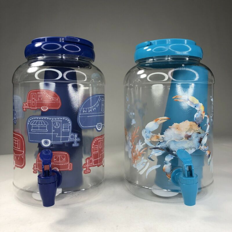 Aqua Blue Red Trailer Sea Animals Mainstays 5-Piece Plastic Sun Tea Jar Bundle