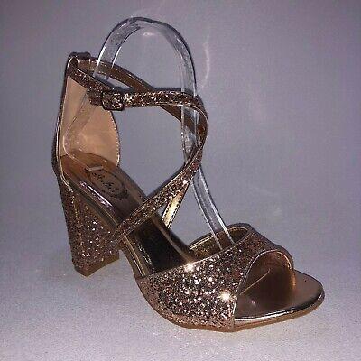 Italina DHU0069 Womens Rose Gold Glitter Dress Heels