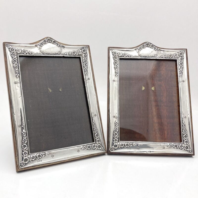 2 Antique 1915 Sterling Silver Wood Photo Frame Joseph & Richard Griffin Chester