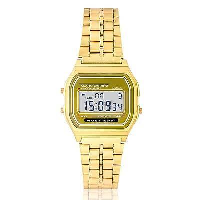 Retro Digitaluhr Armbanduhr Digital Herren Damen Uhr NEU Golden
