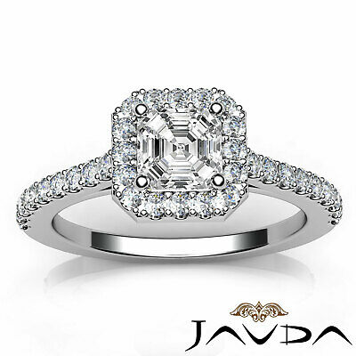 Asscher Diamond Engagement GIA H VS2 Shared Prong Set Ring 18k Yellow Gold 1Ct 11