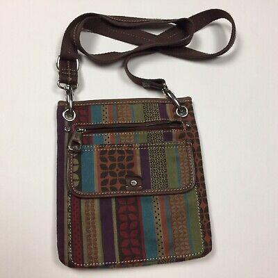 FOSSIL Multicolor Stripe Fabric & Leather Small Crossbody Purse