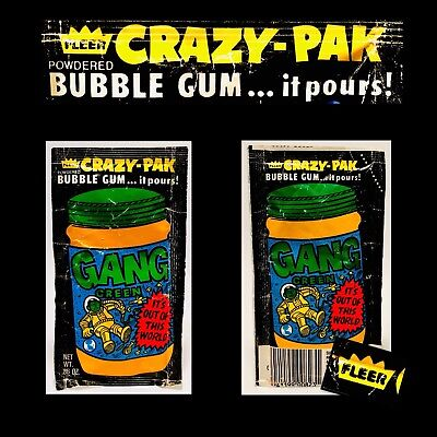 Vintage 1984 Fleer CRAZY-PAK Bubble Gum GANG GREEN Pack candy container beer
