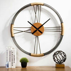 Glitzhome 26.77 Farmhouse Metal Wall Mounted Clock Large Artistic Office Decor
