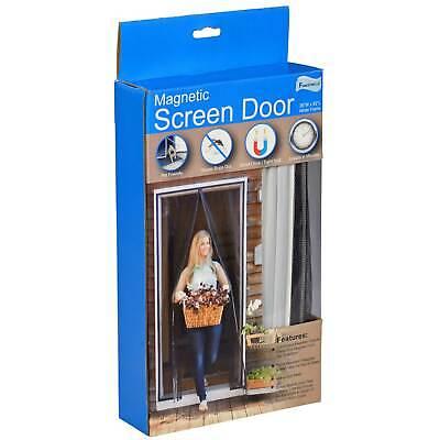 magnetic close hanging door screen white trim