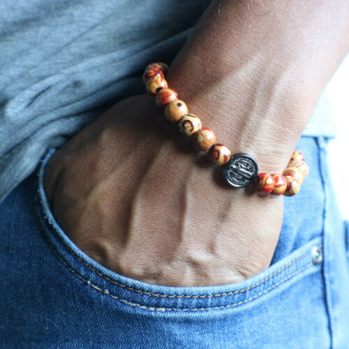 Rosary Bracelet Multicolored Beads Handmade Mens Catholic Pray Benedict Decade