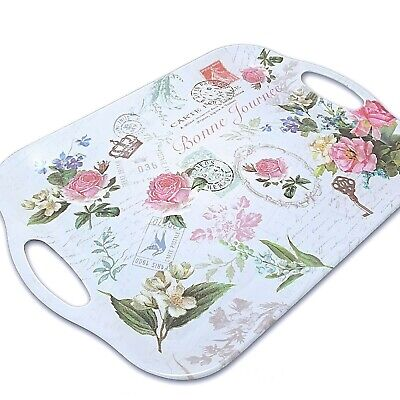 Flower Garden Serving Melamine Tray Rectangular with handles