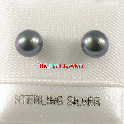 Sterling Silver .925 AAA 5mm High Luster Black Cultured Pearl Stud Earrings TPJ