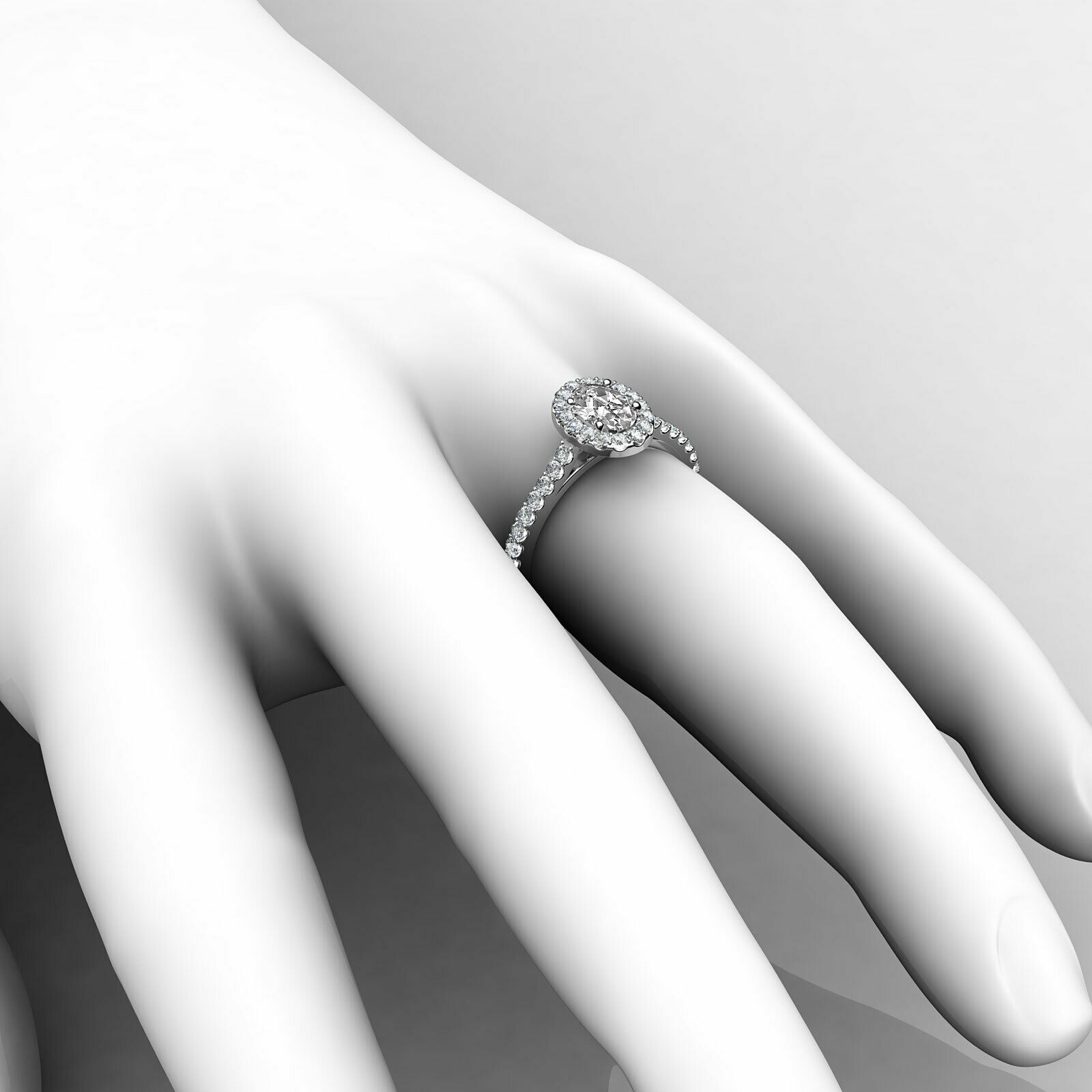 1.6ctw Prong Setting Oval Diamond Engagement Ring GIA H-VS1 White Gold Women New 6