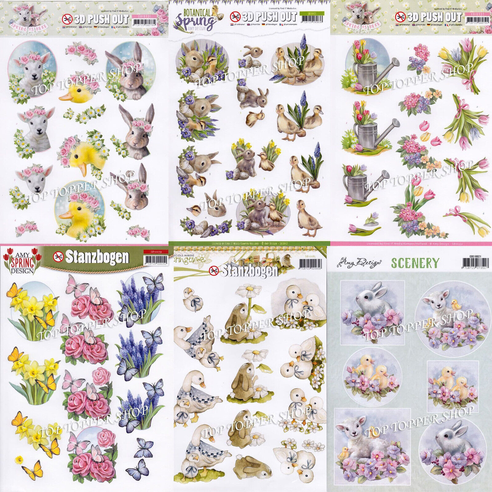 Spring & Easter Themed Die Cut Decoupage Choice of 9 Push Out Sheets