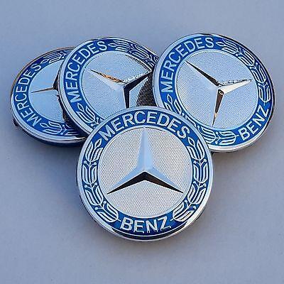 **HOT SALE** Mercedes Benz Alloy Wheel Centre Caps 75mm Badges Blue Hub Emblem