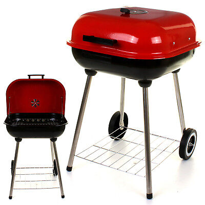 RED/BLACK OUTDOOR GARDEN BBQ BARBECUE CHARCOAL WHEELED TROLLEY COOK GRILL PARTY