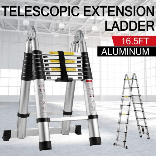 16.5Ft Aluminum Telescopic Extension Ladder Extendable Foldi