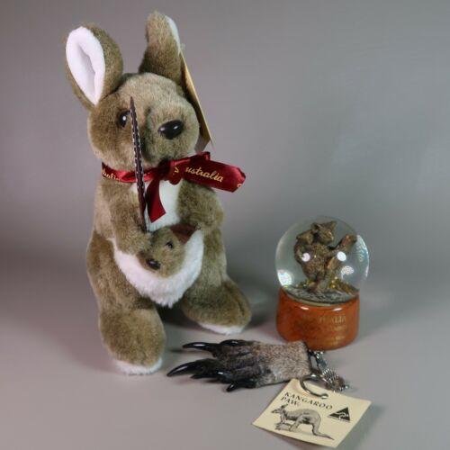 Lot Sydney Australia Travel Souvenir Plush Kangaroo Paw Keychain SnowGlobe Koala