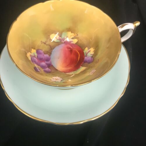 Vtg Paragon H. Painted Mint Green Fruit Pattern Bone China Cup Saucer FD Hall