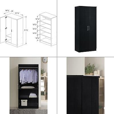 2 Door Bedroom Wardrobe (2-door black armoire with shelves | wardrobe hanging rod hodedah wood closet new )