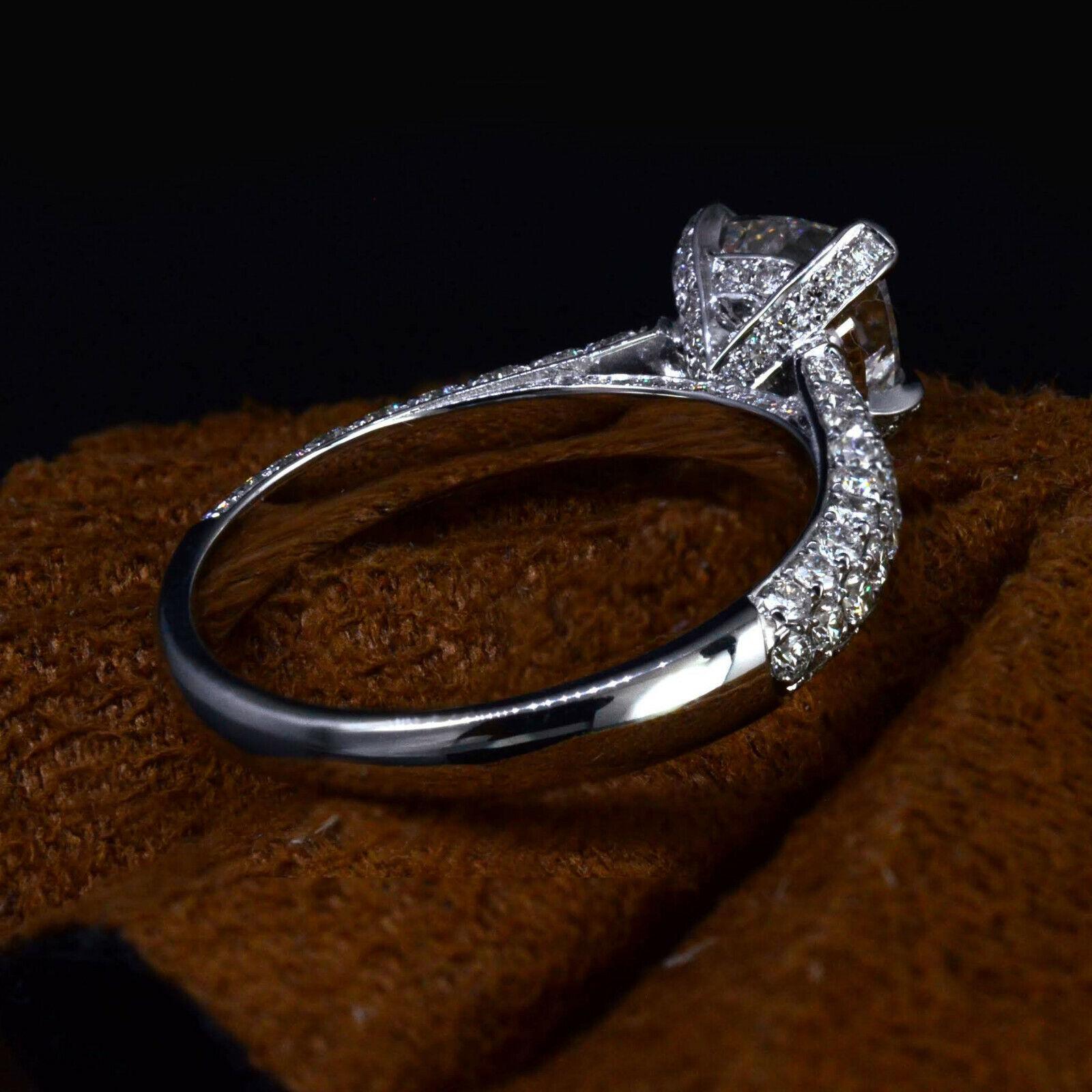 3.10 Ct Cushion Cut Diamond Engagement Ring Round Cut Micro Pave H,VS1 GIA 14K 3