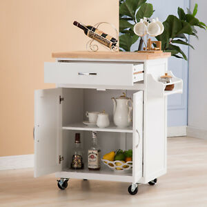 Kitchen Rolling Island Cart Trolley Dining Storage Cabinet Sideboard On Wheels