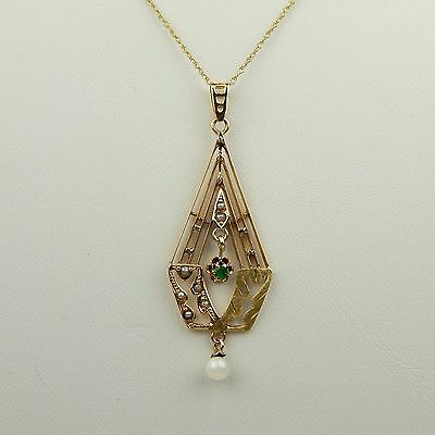 "Pearl & Natural Emerald Lavaliere Pendant Necklace 10 kt Gold 18""  1940's #A1657"