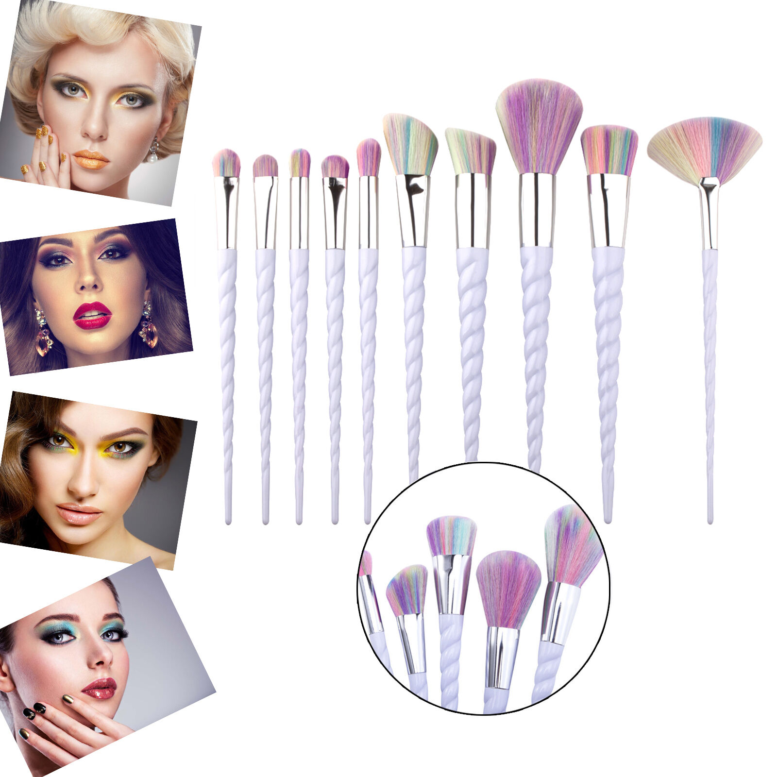 Unicorn Thread Make Up Brushes Set Face Concealer Foundation Powder Blusher