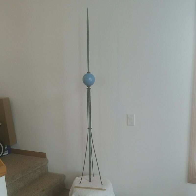 Vintage Antique Copper 65-inch Lighting Rod with 4-1/2 inch Blue Glass Globe