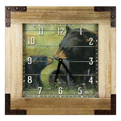 River's Edge Products Large Wall Clock Wood 24in Square Frame Rustic Bears