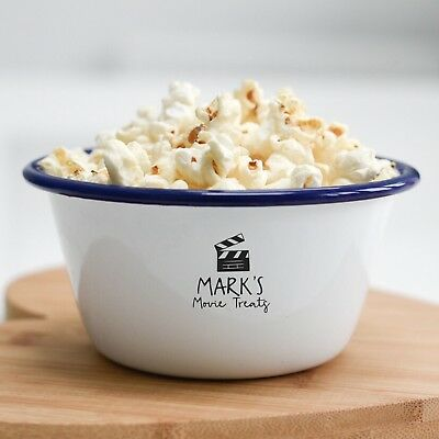 Personalised Name Movies Popcorn Treats Snacks Bowl Gift - 3 Sizes Available - Personalized Popcorn Bowl