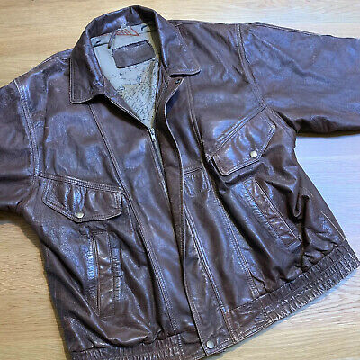 VINTAGE REAL LEATHER BOMBER JACKET 1990s 1980s 90s Style Oversized