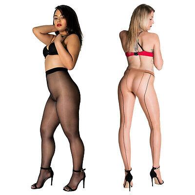 Cecilia de Rafael Sevilla Chic   Shiny Glossy Sheer Back Seam Pantyhose Tights