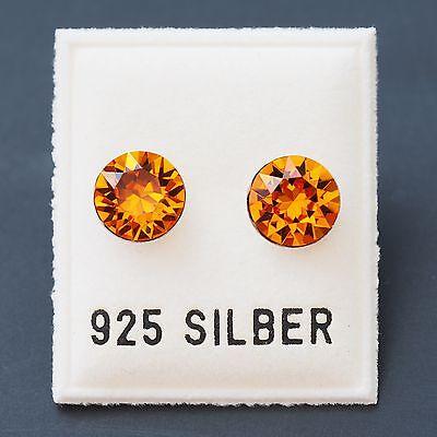 NEU 925 Silber OHRSTECKER 8mm SWAROVSKI STEINE tangerine/orange OHRRINGE