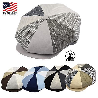 Mens Newsboy Cap, Patchwork Cabbie, Driving Applejack Summer Hat EPnsb2407-11