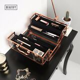 Beautify Large Lockable Acrylic Makeup & Cosmetic Storage Case Rose Gold Frame