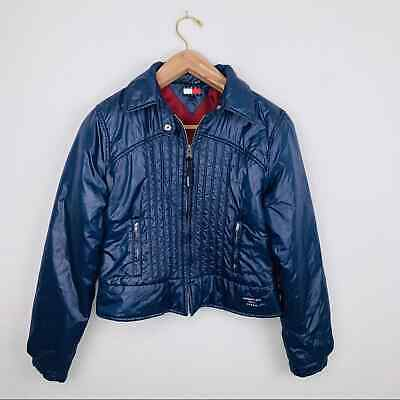 Tommy Girl Navy Puffer Jacket Zip Up Cropped XL