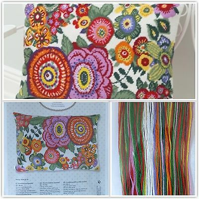 RICO CUSHION TAPESTRY KIT 50 x 35 cm 100% Wool Thread FLOWER POWER Gift FREEPOST