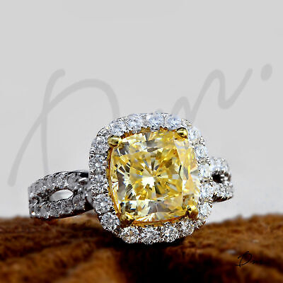 Natural 2.60 TCW Cushion Cut Split Shank Halo Pave Diamond Engagement Ring - GIA