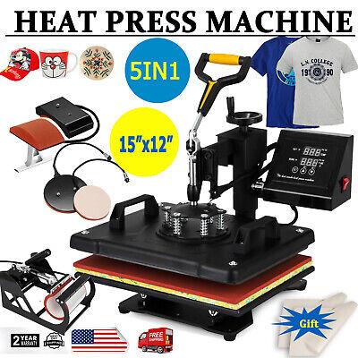 5 In 1 Swing Away Heat Press Machine Digital Sublimation T-shirt Mug Plate Hat