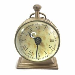 """Nautical Brass Magnified Bubble Glass Desk Clock 6.5"""" Tall (Tested)"""