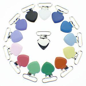 10-Heart-1-Inch-Enamel-Suspender-Passy-Binky-Pacifier-Mitten-Clip-Free-Shipping