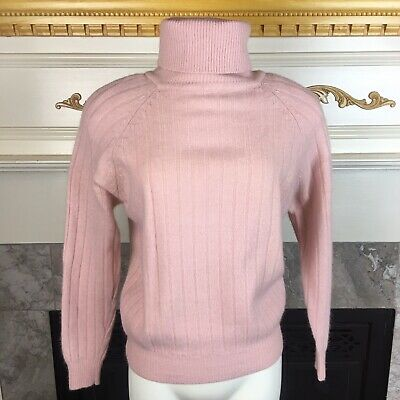 LEE DAVID M Pink Wide Ribbed Angora Lambswool Long Sleeve Turtle Neck Sweater