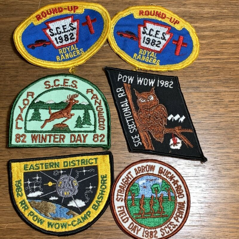 Vintage Royal Rangers Patch Badge Lot of 6 1982 SCES Round Up Pow Wow Winter Day