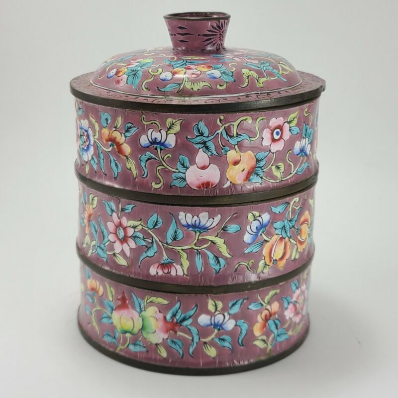 Antique Chinese Pink Plum Ground Canton Enamel Stacked Stacking Box Qing