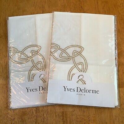 "2 Yves Delorme ALLIANCE Mordore (Bronze) BOUDOIR Pillow Shams 12"" x 17"" NEW"