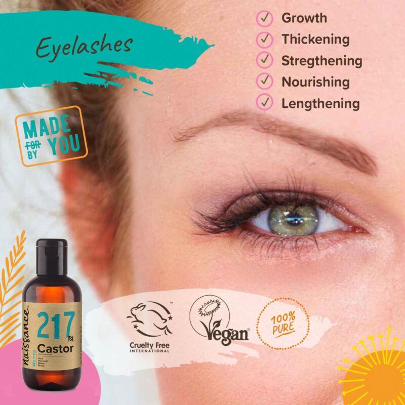 Naissance Rizinusöl - 100ml - kaltgepresst natürlich vegan für Wimpern + Haar