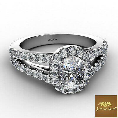 Halo Split Shank U Pave Set Cushion Diamond Engagement Ring GIA F VVS2 1.25 Ct 5